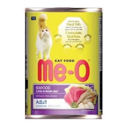 Консервы для кошек Ме-О Adult, с морепродуктами в креветочном желе, 400г