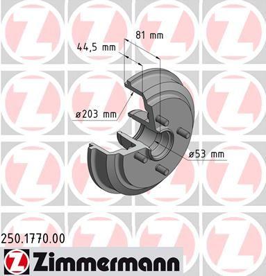 Тормозной барабан ZIMMERMANN 250.1770.00