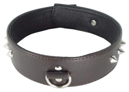 Ошейник BDSM Арсенал кожаный с кольцом увеличенного размера коричневый