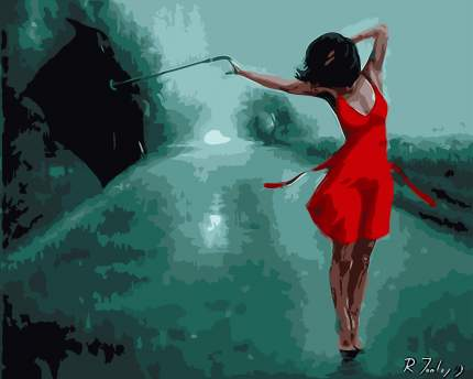 "Картина по номерам MG6821 ""Танцующая под дождём"""