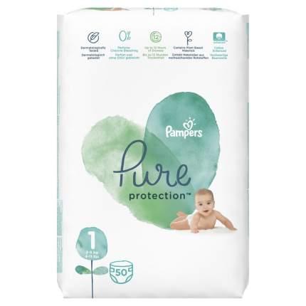 Подгузники для новорожденных Pampers Pure Protection 2-5 кг, размер 1, 50 шт.