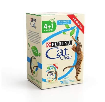 Влажный корм для кошек Cat Chow, лосось и зеленый горошек, 85 г, 4+1 шт