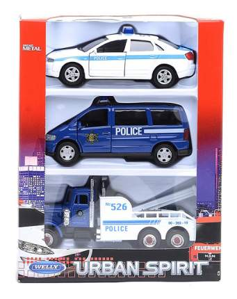 Набор машин спецслужб Welly 99610-3a Полиция