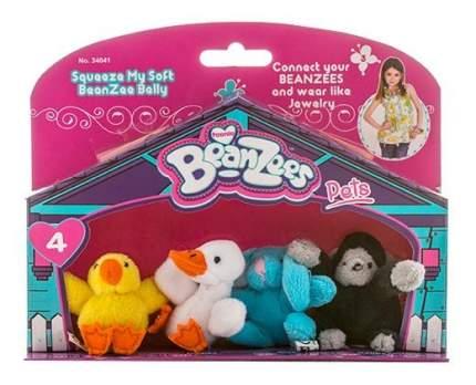 Мягкая игрушка Beanzees B34041 Мини плюш в наборе Цыпленок, Утенок, Кролик, Горилла
