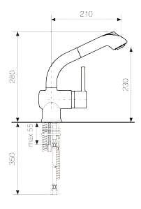 Смеситель для кухонной мойки LAVA ID 0820 LAV черный металлик