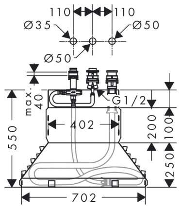 Смеситель для ванны на борт Hansgrohe Focus 13437180 латунь