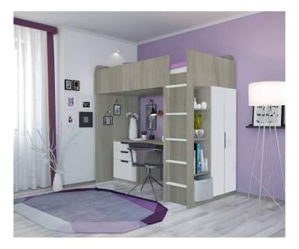 Кровать-чердак Polini Simple с письменным столом и шкафом, вяз-белый
