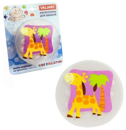 Мини-коврик для ванной Valiant Kids Collection Жирафик На присосках, 6 шт