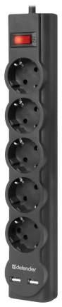 Сетевой фильтр Defender DFS 755, 5 розеток, 5 м, Black