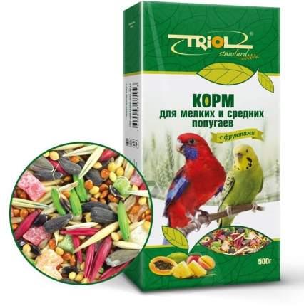 Основной корм для мелких и средних попугаев Triol, с фруктами, 500г