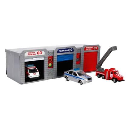 Гараж-бокс Технопарк гараж для спецтехники с 3металлические машинами 7,5 см