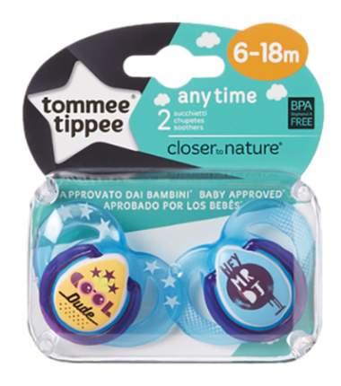 Набор детских пустышек tommee tippee Any Time (6-18 мес.) 2 шт. голубые