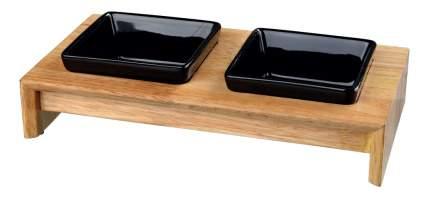 Двойная миска для кошек TRIXIE, дерево, керамика, коричневый, черный, 2 шт по 0.2 л