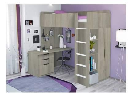 Кровать-чердак Polini Simple с письменным столом и шкафом, вяз