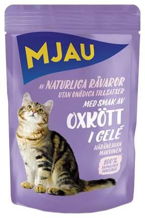 Влажный корм для кошек Mjau Flavour, ароматная говядина в желе, 85г