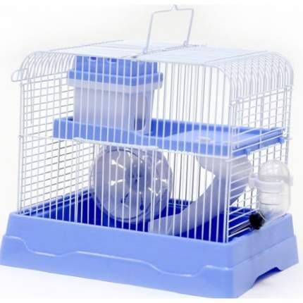 Клетка прямоугольная для хомяка №1, укомплектованная, голубая, 30х23х25,7 см