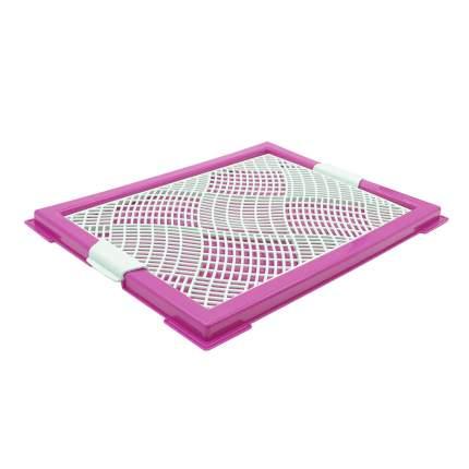 Лоток для собак ZooOne Мини, с сеткой, розовый, 46x34x2 см