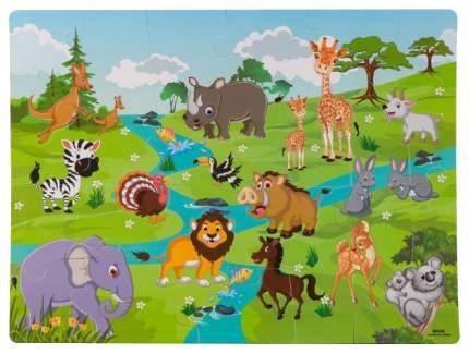 Bondibon Пазл коврик дикие животные с фигурками вкладышами Bondibon ВВ2822