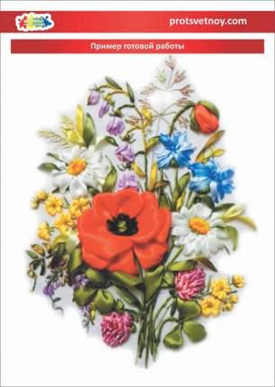 """Вышивка лентами  Цветной  """"Полевые цветы"""" VL006"""