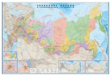 Настенная карта Атлас Принт Транспорт России и сопредельных гос-в 1:3,7млн.2,33х1,58м.