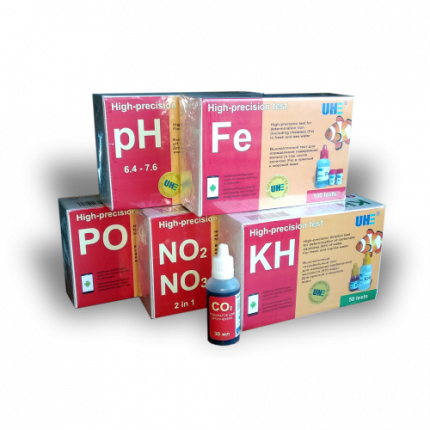 Набор тестов для пресной аквариумной воды UHE на pH, KH, NO2, NO3, PO4, Fe, CO2