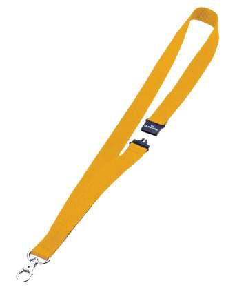 Шнур текстильный для бейджей 44смx20мм с боковым замком и карабином с лого желтый 10 шт.