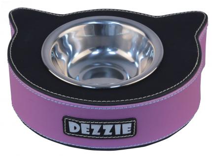 Одинарная миска для кошек DEZZIE, сталь, фиолетовый, черный, 0.125 л
