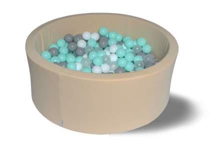 Сухой игровой бассейн Жемчужный берег 40см с 200 шарами: белый, серый, мятный, прозрачный