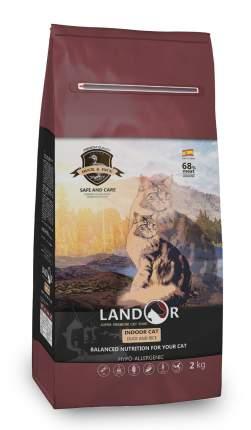 Сухой корм для кошек Landor Indoor Cat, для домашних, утка, 2кг