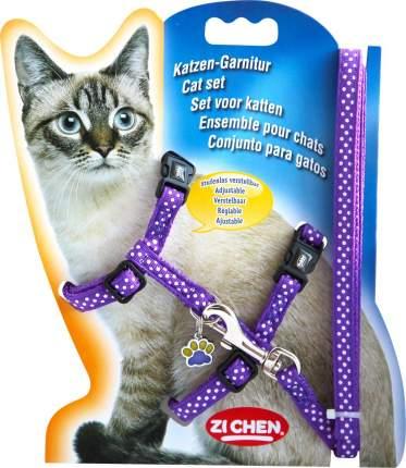 Шлейка с поводком для кошек Nobby Горошек обхват 19-22 см, фиолетовый