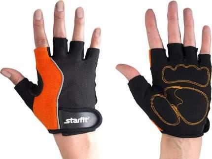 Перчатки для фитнеса женские StarFit SU-108, оранжевые/черные, M INT