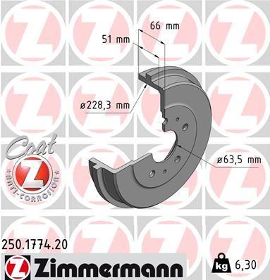 Тормозной барабан ZIMMERMANN 250.1774.20