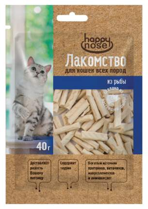 Лакомство для кошек Happy Nose Мини соломка из лосося