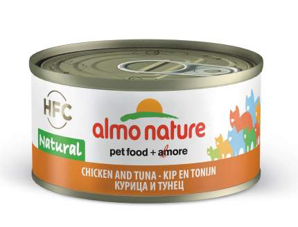 Консервы для кошек Almo Nature HFC Natural, курица, тунец, 70г