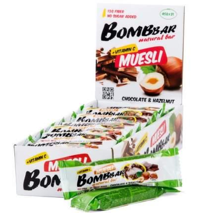 Мультизлаковый Bombbar 45гр (21), шоколад/фундук