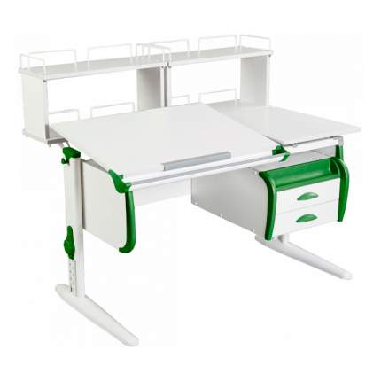 Парта Дэми СУТ-25-04Д2 WHITE DOUBLE со столешницей, приставками белый, зеленый