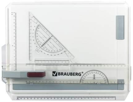 Доска чертежная с рейсшиной и треугольником, А4, 370х295 мм
