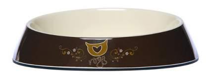 Одинарная миска для кошек Rogz, силикон, керамика, коричневый, 0.2 л