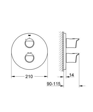 Смеситель для встраиваемой системы Grohe Grohtherm 2000 19354001 серебристый