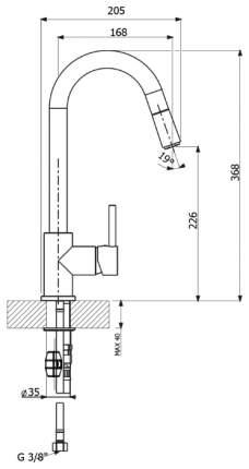 Смеситель для кухонной мойки Florentina Vita AV 33.22Н.1210.107 песочный
