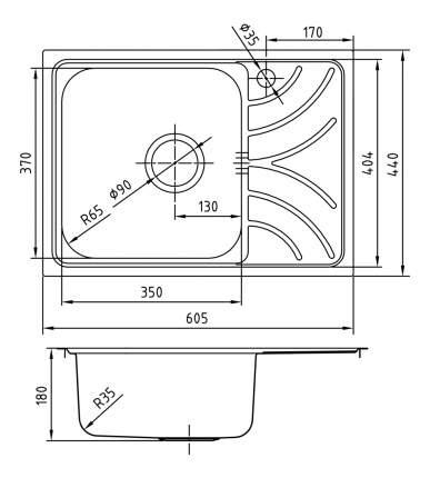Мойка для кухни из нержавеющей стали IDDIS Arro ARR60SLi77