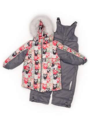 Комплект: куртка и полукомбинезон с опушкой N234/1 (Коты+свет. серый)
