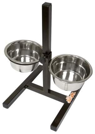 Двойная миска для кошек и собак Зооник, металл, сталь, серебристый, 2 шт по 0.9 л