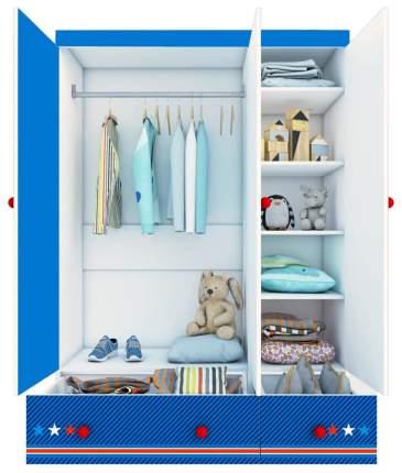 Детский шкаф трехсекционный Polini kids Маша и Медведь Fun 1360 Синий