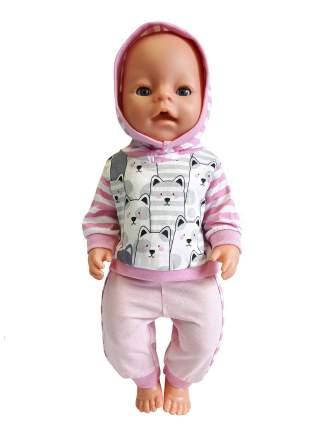 Костюм спортивный для куклы Колибри 116 розовый с белым