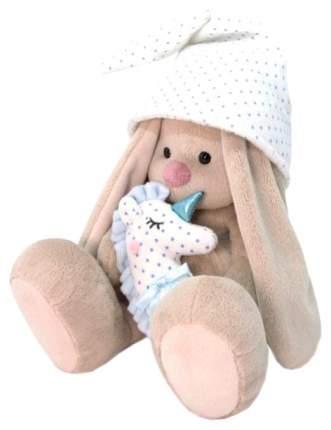 Мягкая игрушка BUDI BASA Зайка Ми с голубой подушкой - единорогом, 18 см