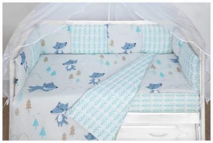 Бортик в кроватку 12 предметов (12 подушек-бортиков) AmaroBaby В ЛЕСУ (серый)