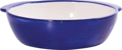 Миска для собак КерамикАрт Мордочка собаки, керамическая, синяя, 180мл