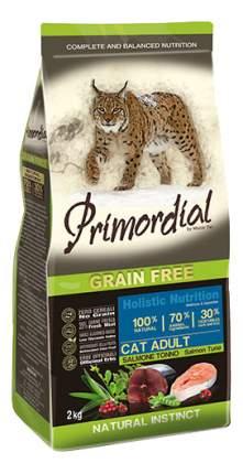 Сухой корм для кошек Primordial Natural instinct, беззерновой, лосось, тунец, 2кг
