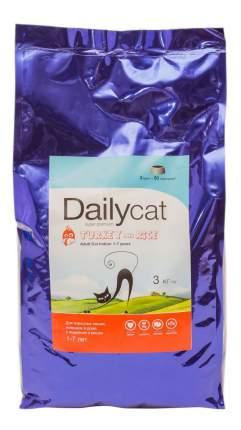 Сухой корм для кошек Dailycat Indoor, для домашних, индейка, 3кг